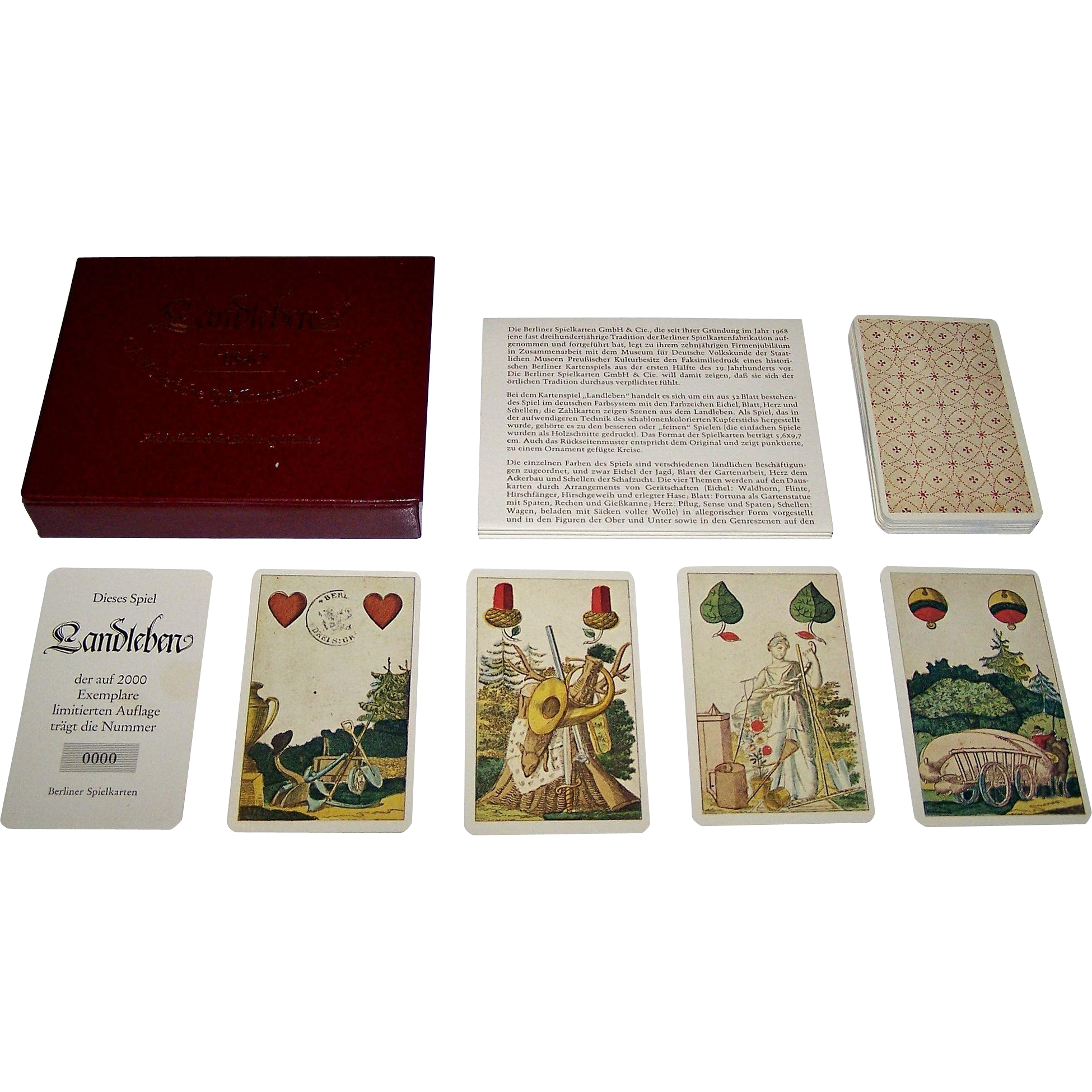 "Berlin Spielkarten Fabrik ""Landleben"" (""Country Life"") Skat Playing Cards, Reprint of Christian August Muller (1835), Ltd. Ed. 0000/2000, 1978"
