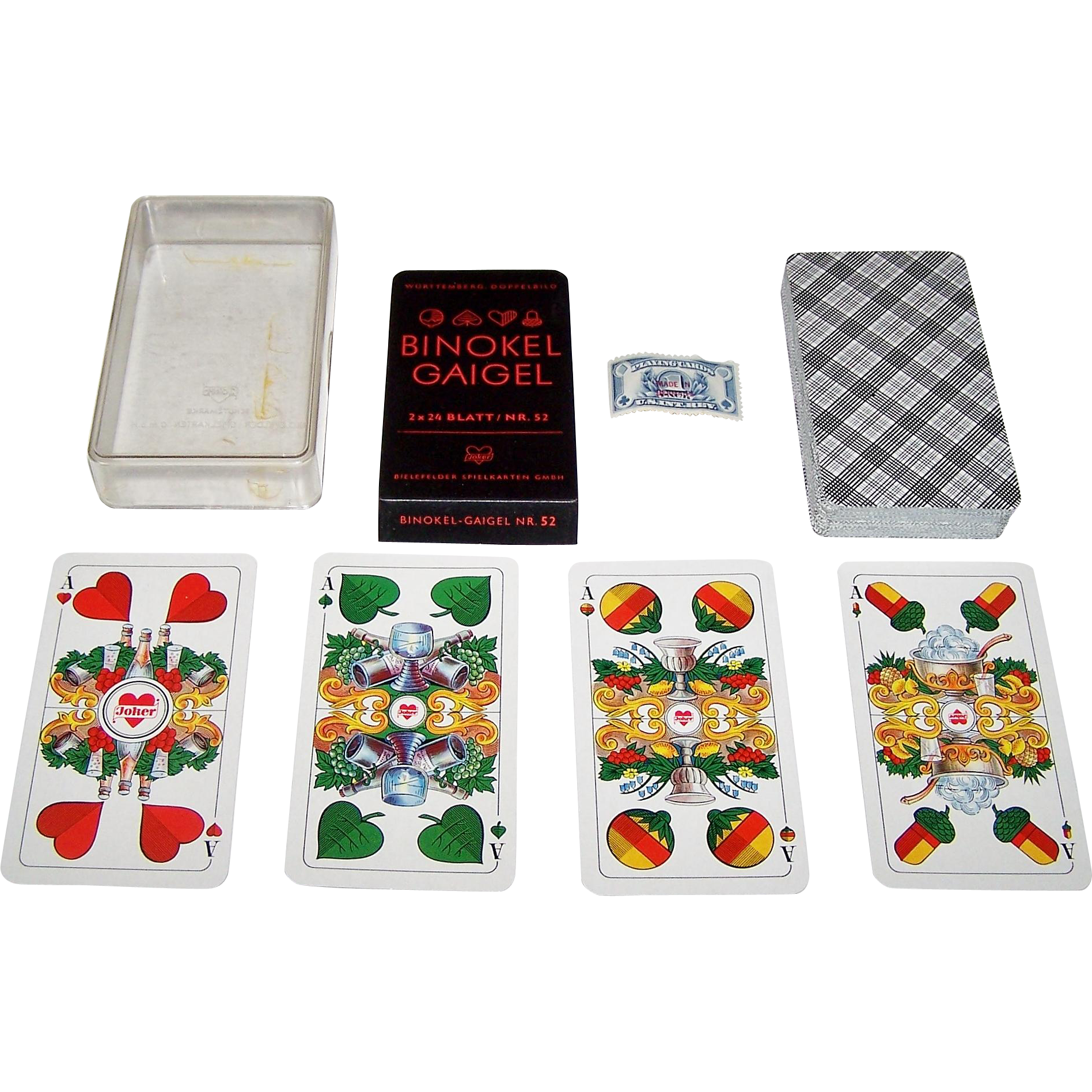 "Bielefelder ""Binokel Gaigel"" Playing Cards, Wuerttemberger Doppelbild Pattern, c. 1940-1965"