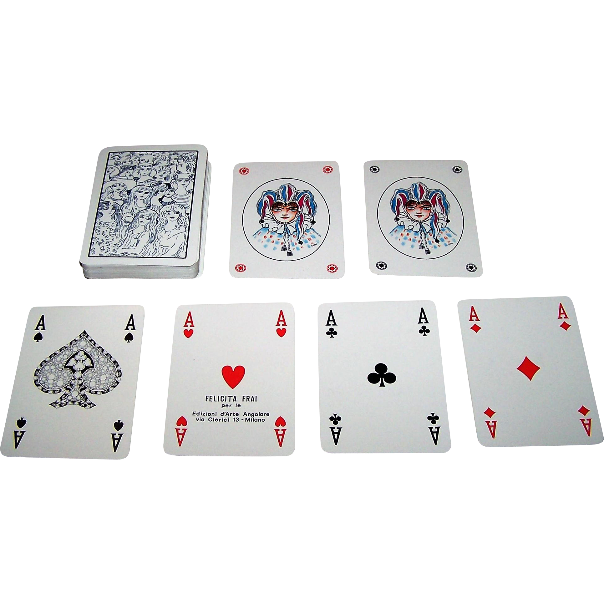 "Modiano ""Felicita Frai"" Playing Cards, Edizioni d'Arte Angolare Publisher, Ltd. Ed. (___/500), Felicita Frai Designs, c.1977"
