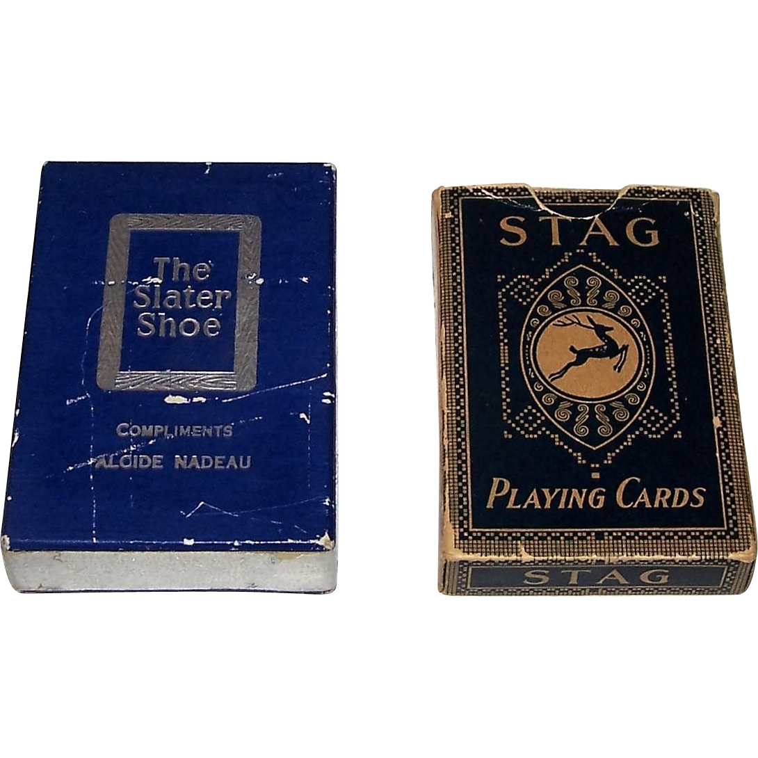 "2 Decks Canada Playing Cards, $20 ea.: (i) International Playing Card Co. (Canada USPC) ""The Slater Shoe"" Bicycle Playing Cards, Multi-Color Series Joker, c. 1947; (ii) Canadian Playing Card Co. ""Stag"" Playing Cards, ""Sports Bridge"" Brand, c.1925"
