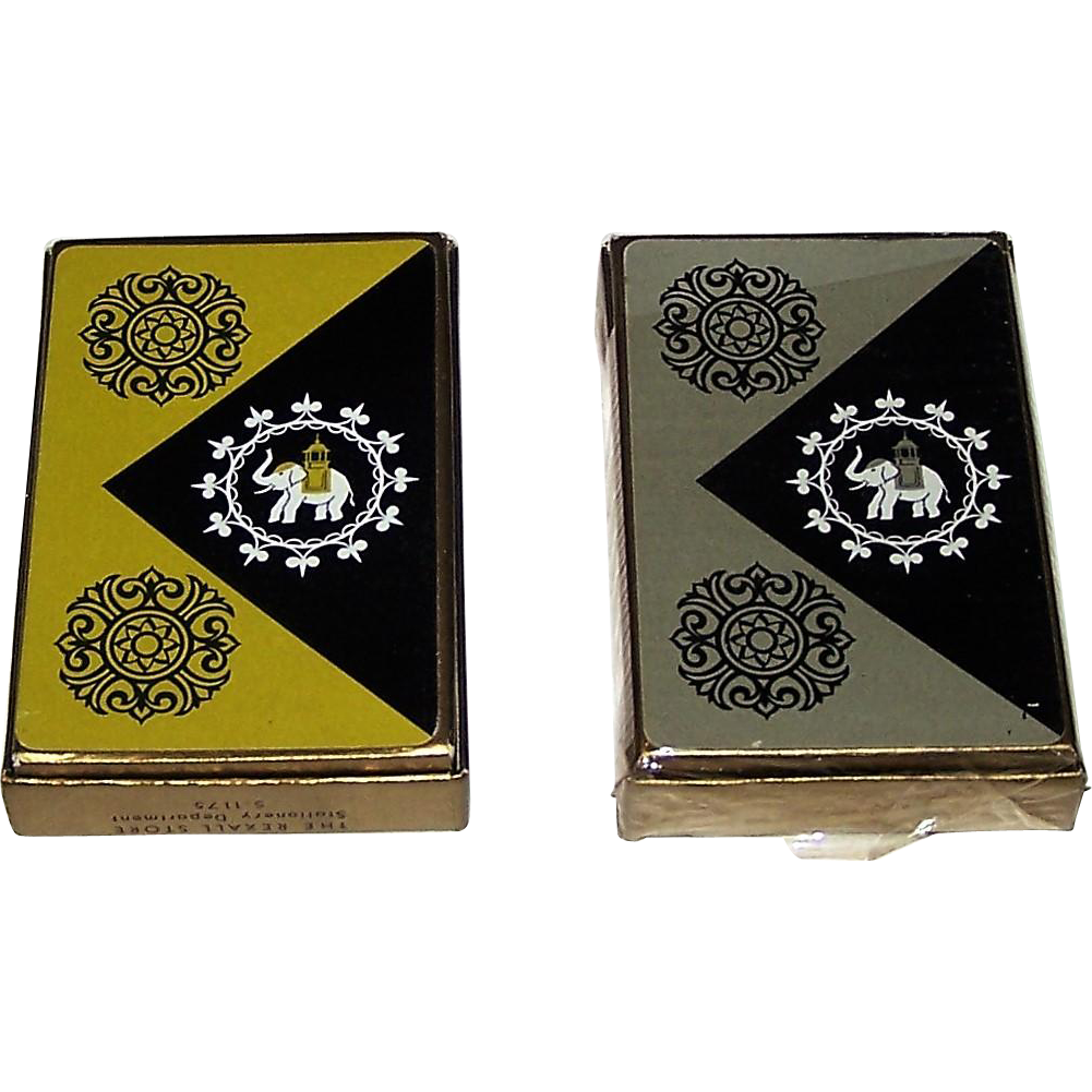 "Twin Decks USPC ""Lord Baltimore"" Playing Cards, India Theme, c.1950 ($12.50 ea.)"