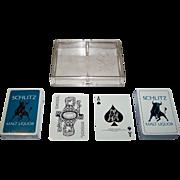 "Double Deck Jos. Schlitz Brewing Co. ""Schlitz Malt Liquors"" Advertising Playing Cards, Maker Unknown, Non-Standard Courts, c.1970"