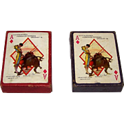 "Twin Decks Offset-Latina ""Baraja Taurino"" Playing Cards, Carlos Ruano Llopis Designs, First Edition, Enrique Guerrero Publisher, c.1950, $20/ea."