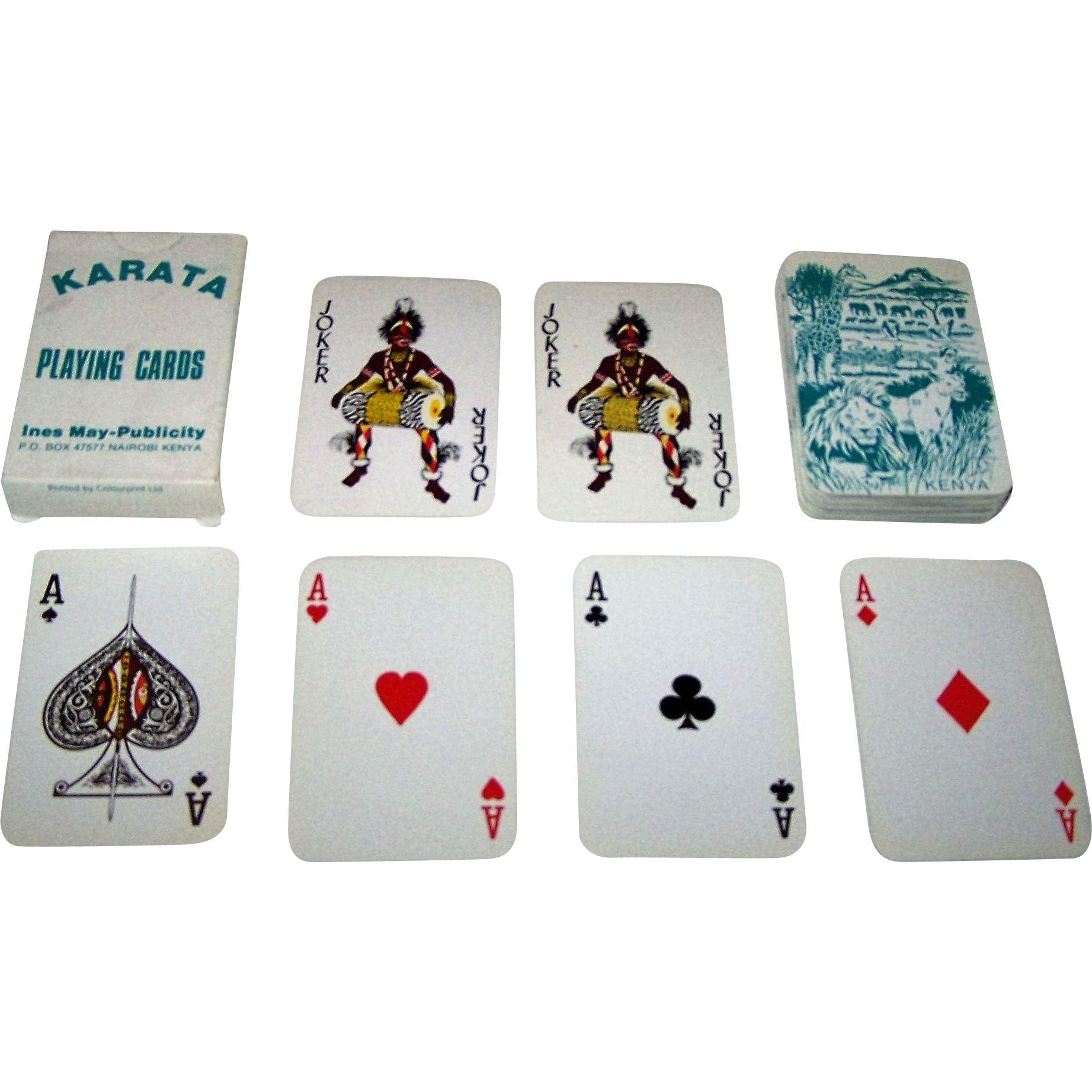 "Kenya Litho, Ltd. ""Karata"" Playing Cards, Ines May-Publicity Publisher, c.1970"