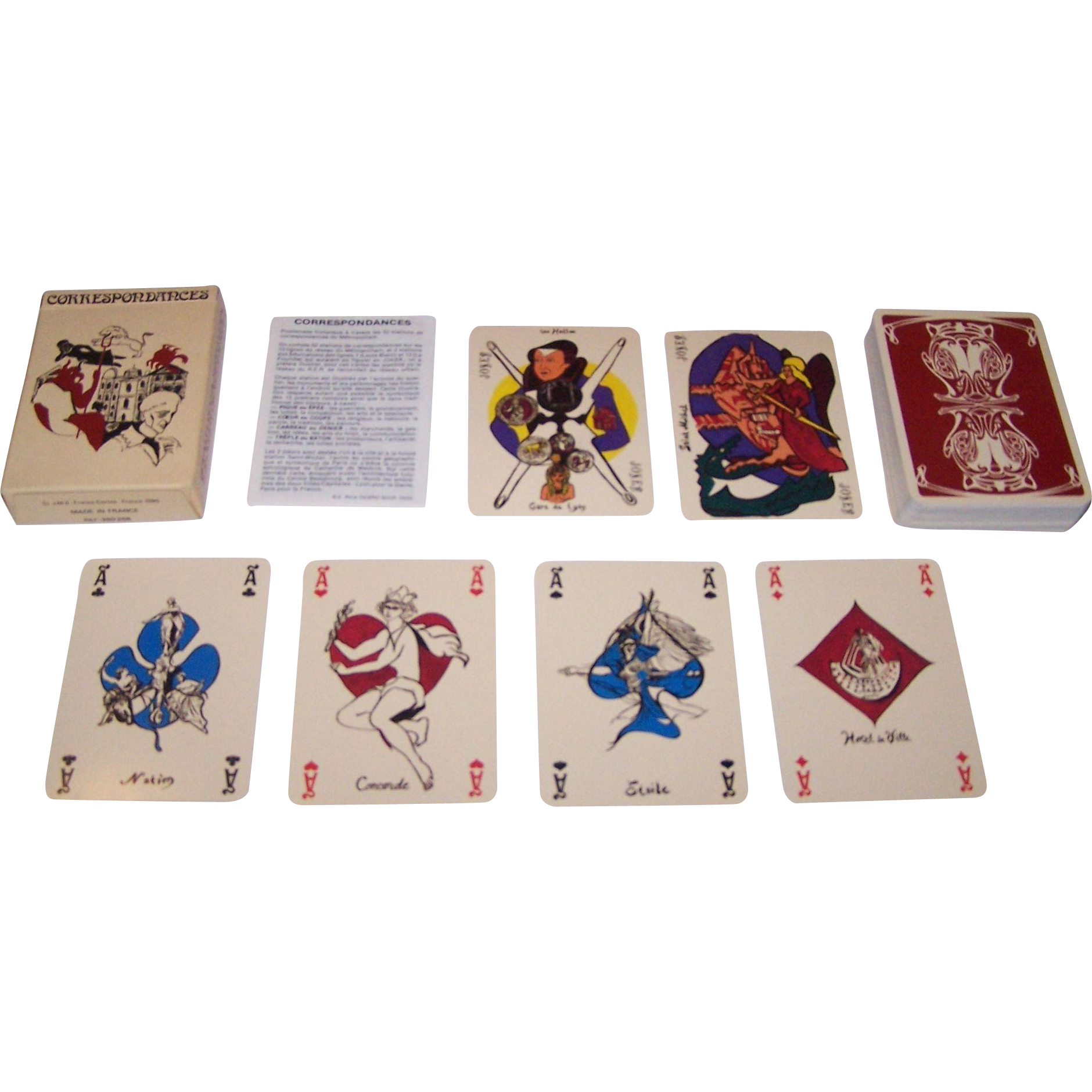"Grimaud (France Cartes) ""Correspondances"" Playing Cards, Laurence Caiazzo and Pica-Cicero-Scop Designs, c.1985"