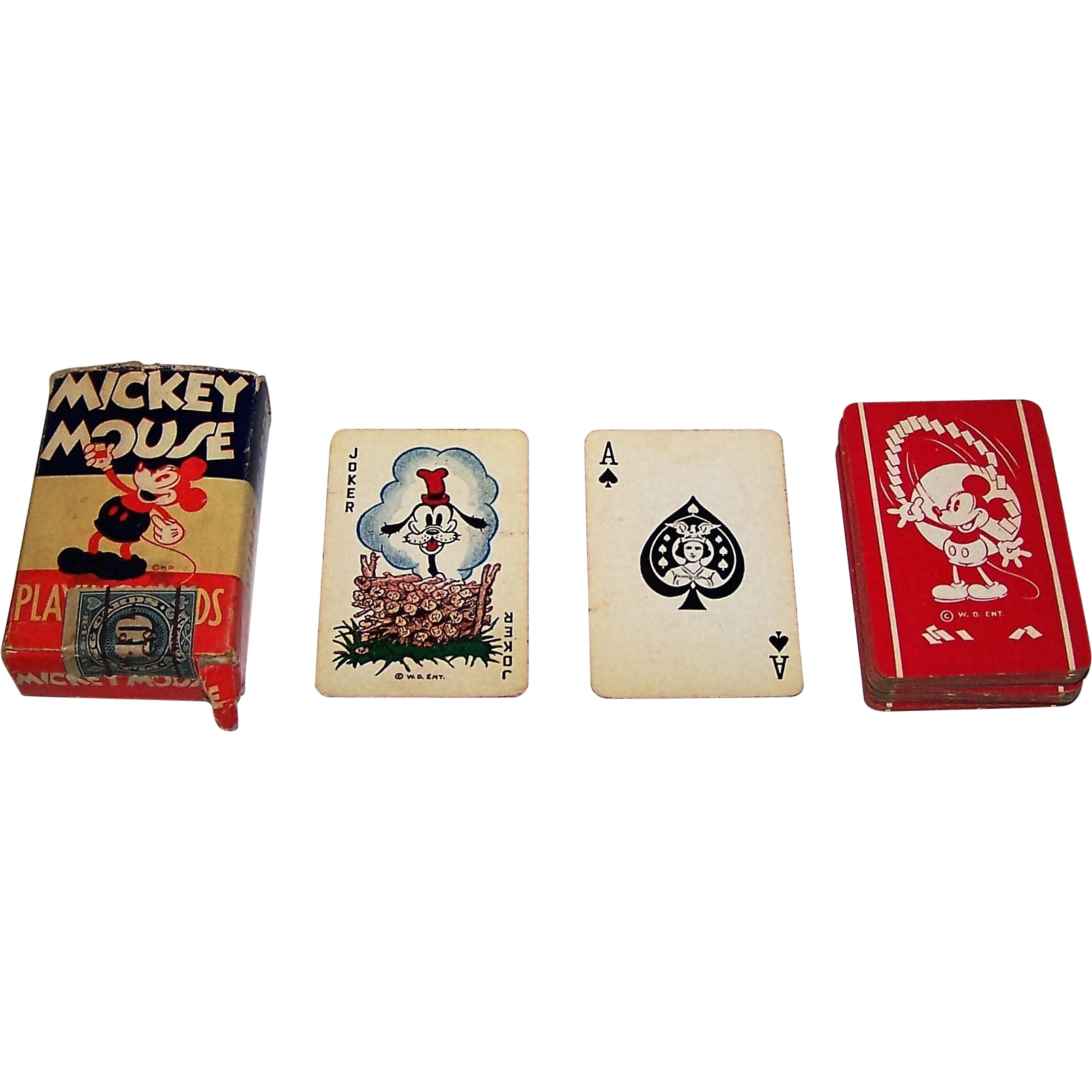 "Western Playing Card Co. ""Mickey Mouse"" Patience Playing Cards, ""Goofy"" Joker c.1930"