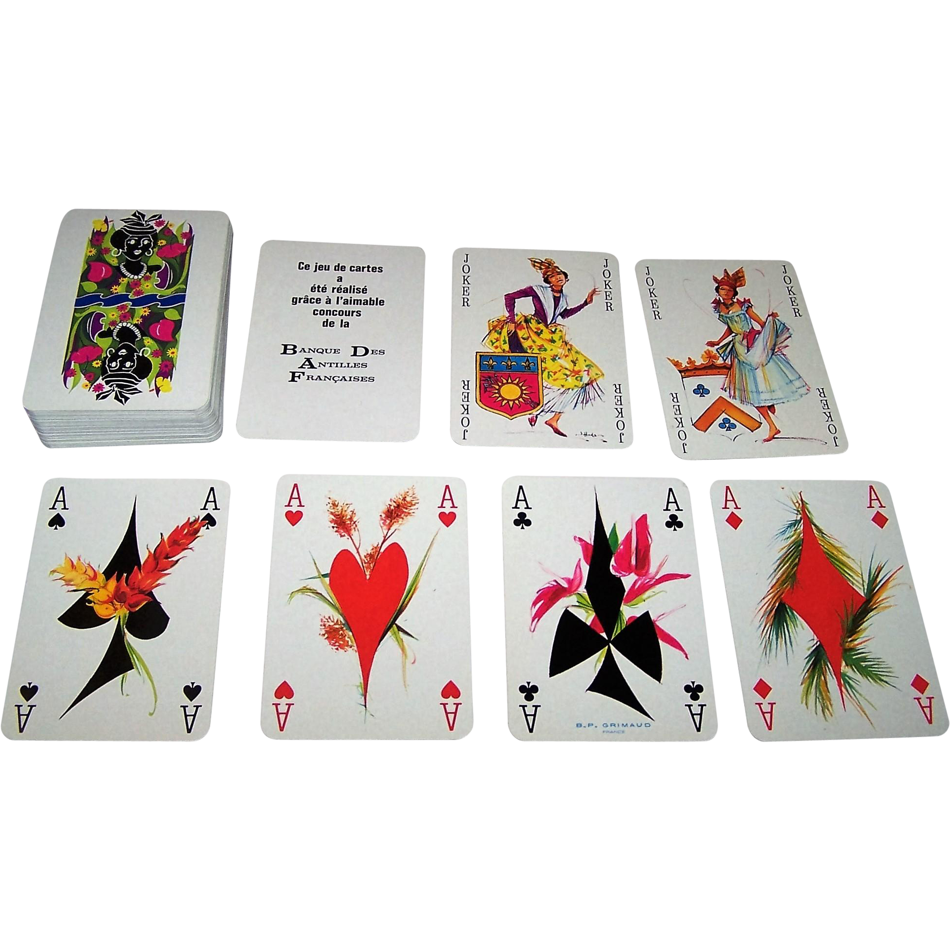 "Grimaud ""Banque des Antilles Françaises"" Playing Cards, James Hodges Designs, c.1973"