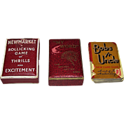 "3 Vintage British Cards Games, c.1930-1935, $10/ea.: (i) Storey ""My Word: The Better Letter Game""; (ii) Universal Publications ""Newmarket: Rollicking Game of Thrills and Excitement""; (iii) Waddington ""Bobs Yr Uncle"""