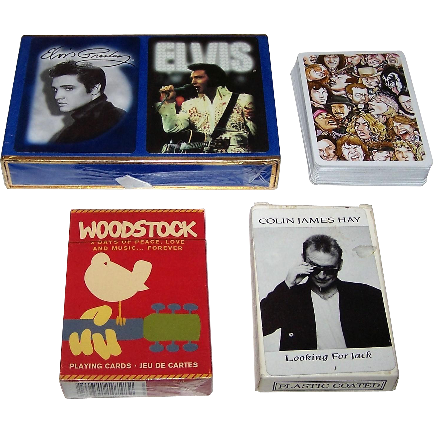 "3 Sets Rock Music Playing Cards, $10/ea.: (i) Double ""Elvis Presley"" w/ Photos; (ii) ""Woodstock"" w/ Photos; and (iii) Colin James Hay ""Looking for Jack"""
