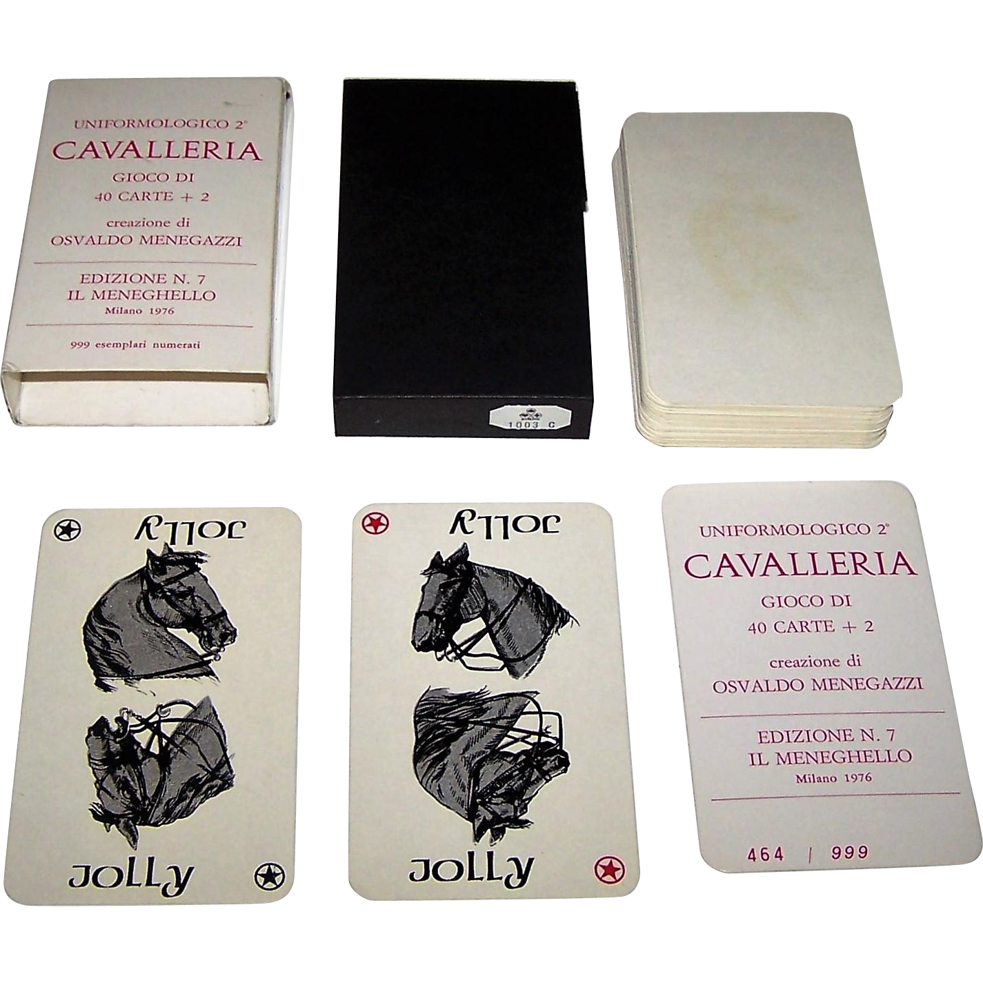 "Il Meneghello ""Uniformologico 2 Cavalleria"" Playing Cards, Osvaldo Menegazzi Designs, Ltd. Ed. (464/999), c.1976"