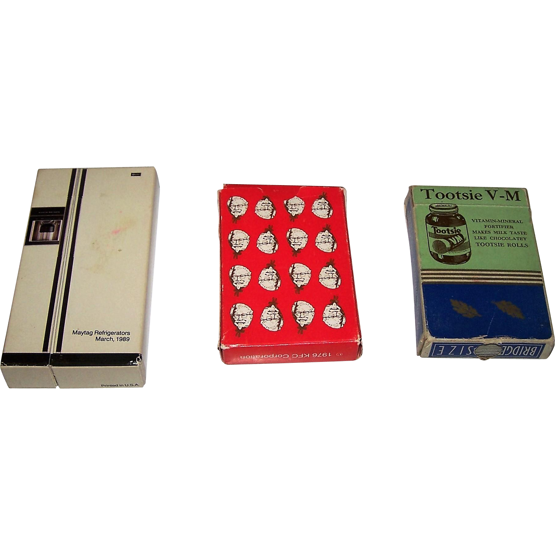 "3 Decks U.S. Advertising Playing Cards, $15/ea.: (i) B&B ""Tootsie V-M"", c.1940s; (ii) B&B ""Kentucky Fried Chicken"" (Colonel Sanders), c.1976; (iii) Whitman ""Maytag Repairman"" (Gordon Jump) c.1989"
