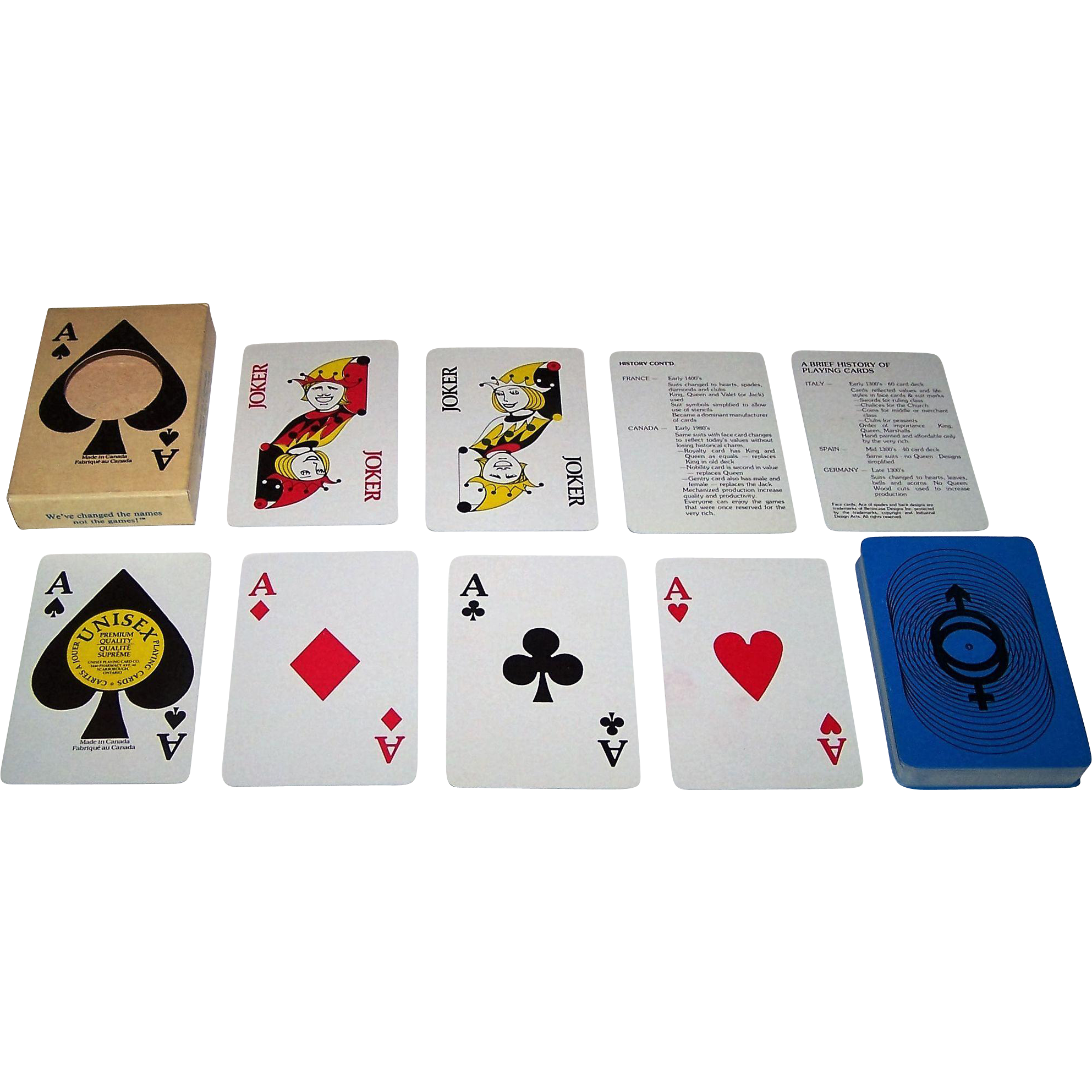 "Richmond (Toronto) ""Unisex"" Playing Cards, Unisex Playing Card Co. Publisher, Benincasa Designs, Inc., c.1982"