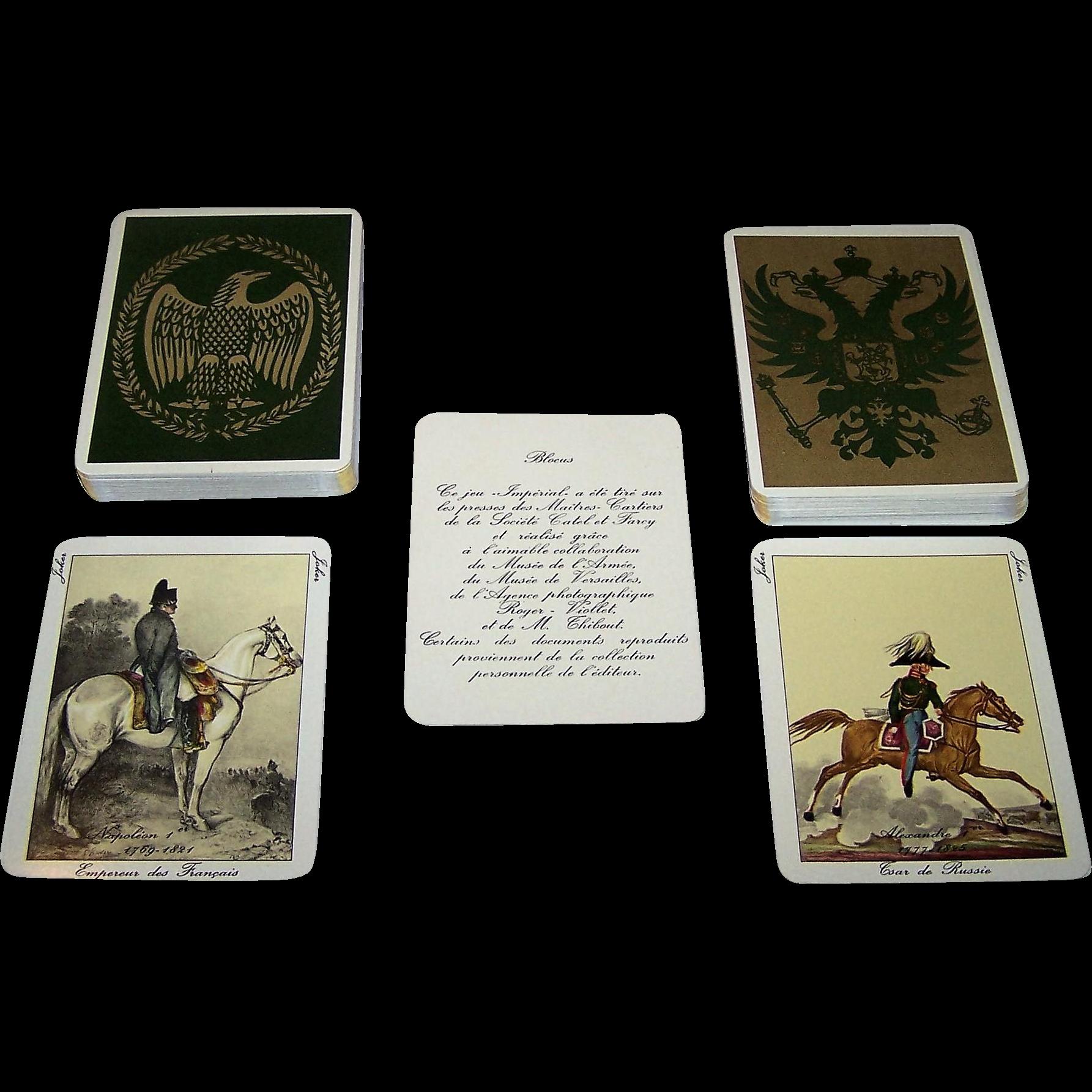"""Catel et Farcy """"Jeu de Blocus I and II"""" Playing Cards, """"La Grande Armée"""" and """"Les Armées Alliées"""", c.1965"""