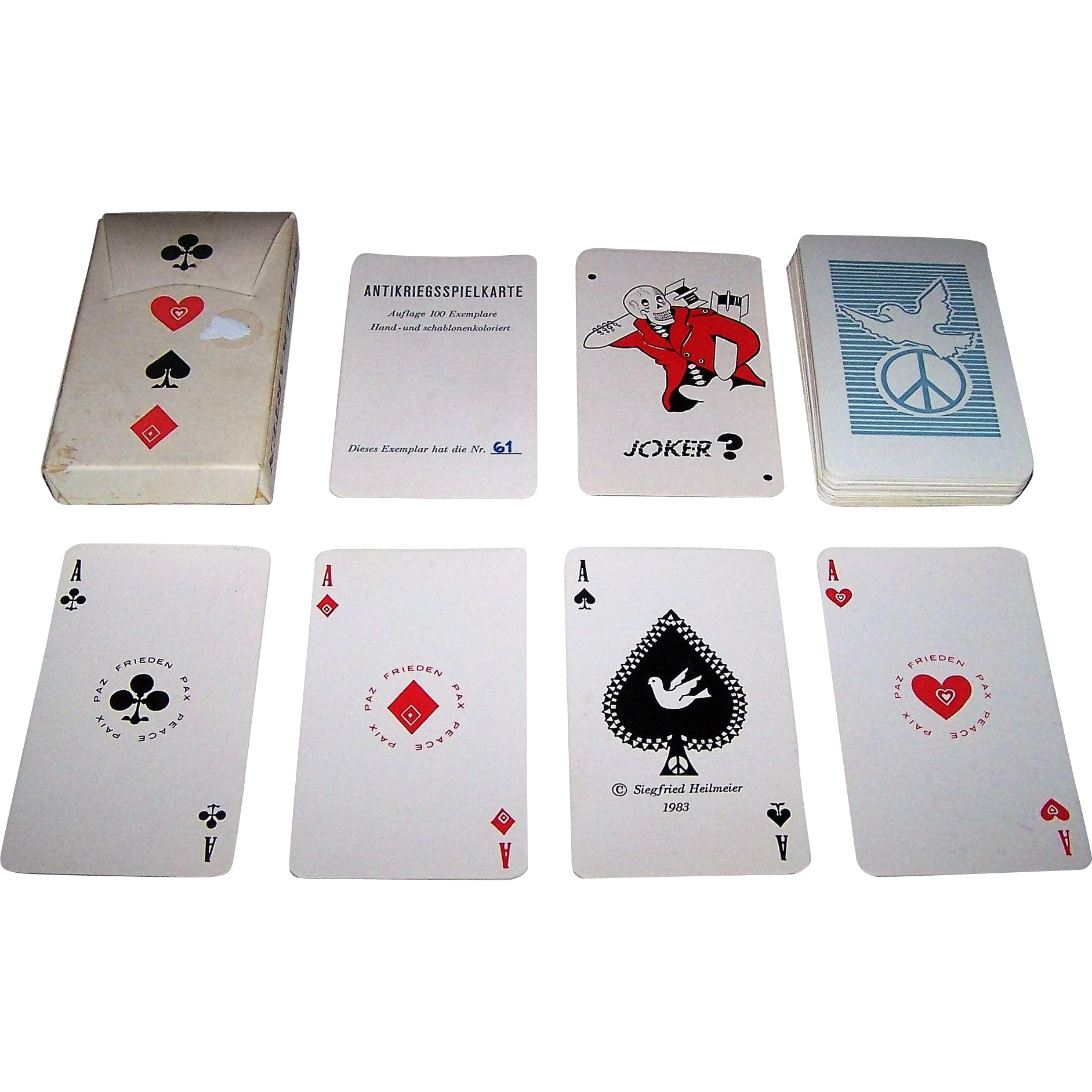 "Siegfried Heilmeier ""Antikriegsspielkarte"" (""Antiwar Playing Cards"") Skat Playing Cards, Hand Colored, Ltd. Ed. (61/100), c.1983"