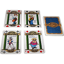 """""""Kubespoker"""" Advertising Playing Cards (20) for Poker Jeans and Jackets, Royal Flush Poker Hands, Maker and Artist Unknown, c.1980s"""