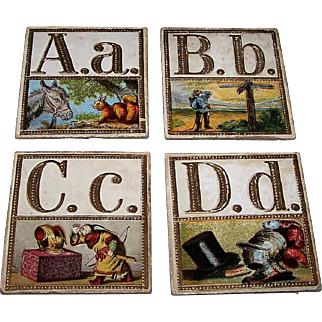 """Hand-Painted """"Russian America"""" (?) Alphabet Cards, Maker and Artist Unknown, c.1850 (?)"""