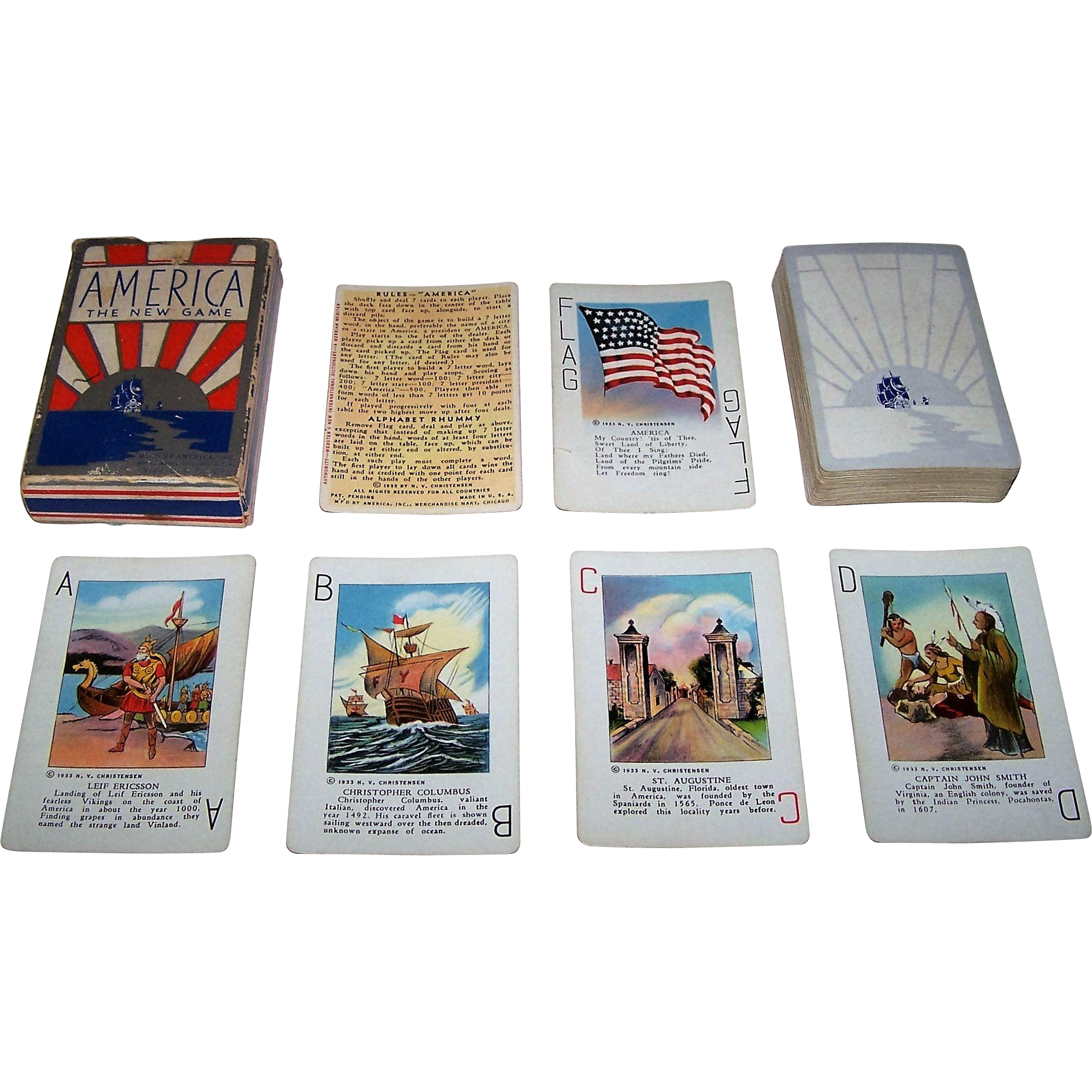 "N.V. Christensen ""America: The New Game"" Card Game, c.1933"