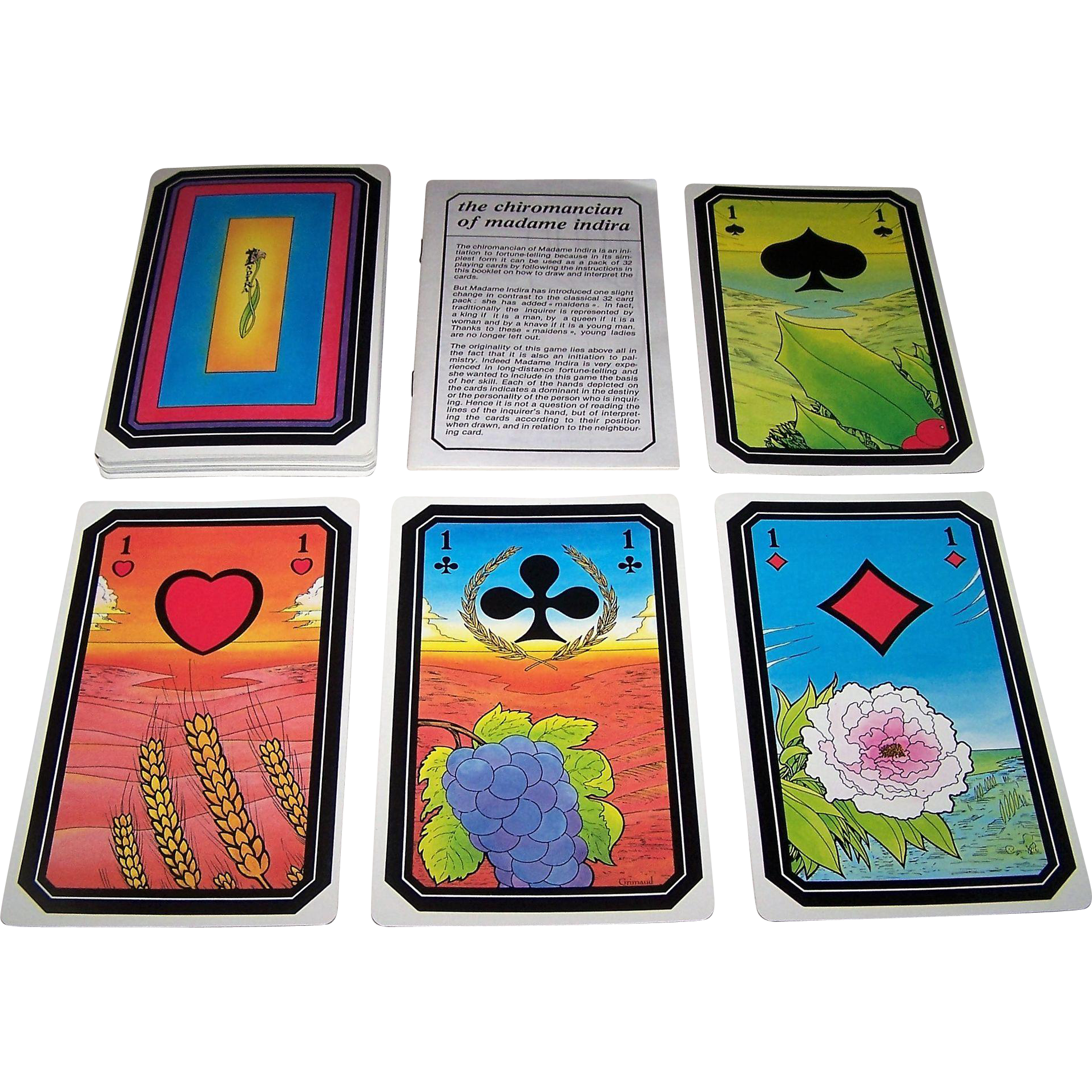 "Grimaud ""Le Chiromancien de Madame Indira"" Fortune and Palmistry Cards, c.1985"