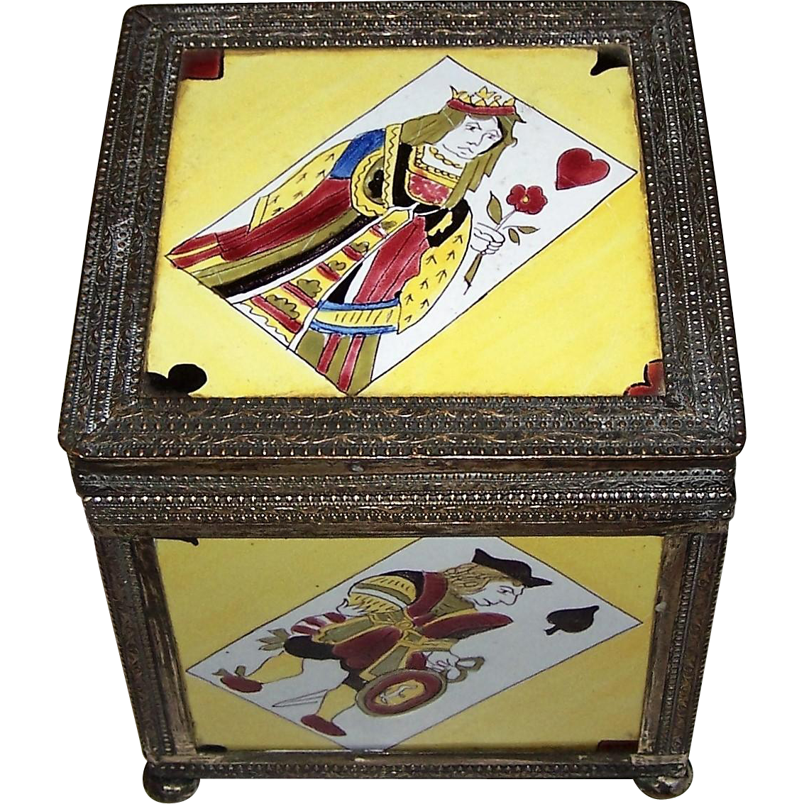 19th Century German Wood Box w/ Berlin Pattern Porcelain Panels and Brass Framing