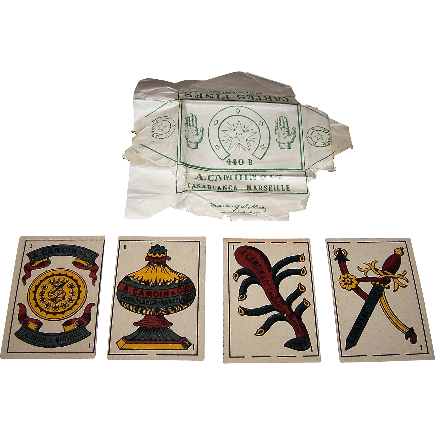 "Camoin & Cie Casblanca-Marseille ""Spanish Pattern No. 440B"" Playing Cards w/ Wrapper, c.1955"