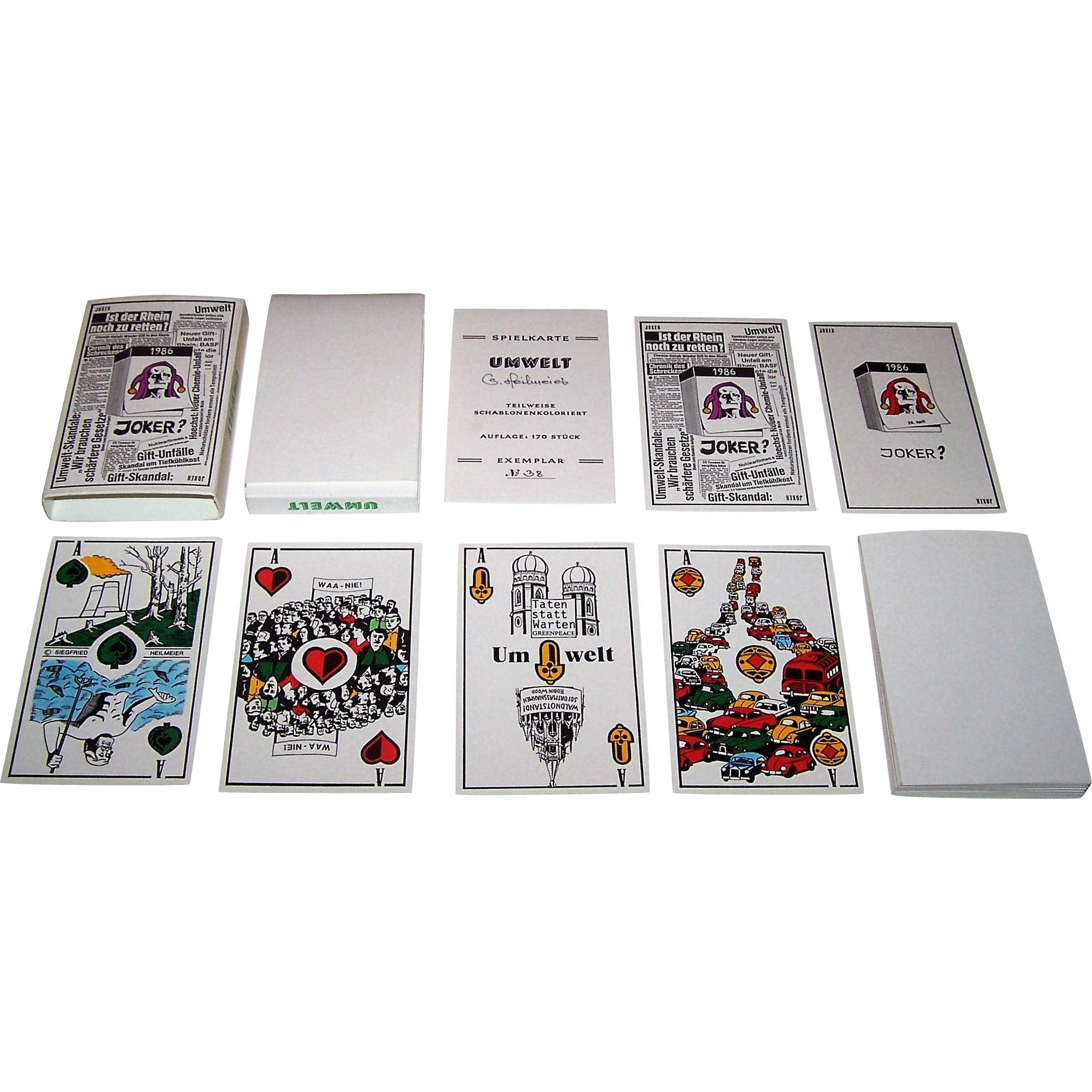 "Siegfried Heilmeier ""Umwelt"" (""Environmental"") Skat Playing Cards, Hand Colored, Ltd. Ed. (38/170), c.1986"