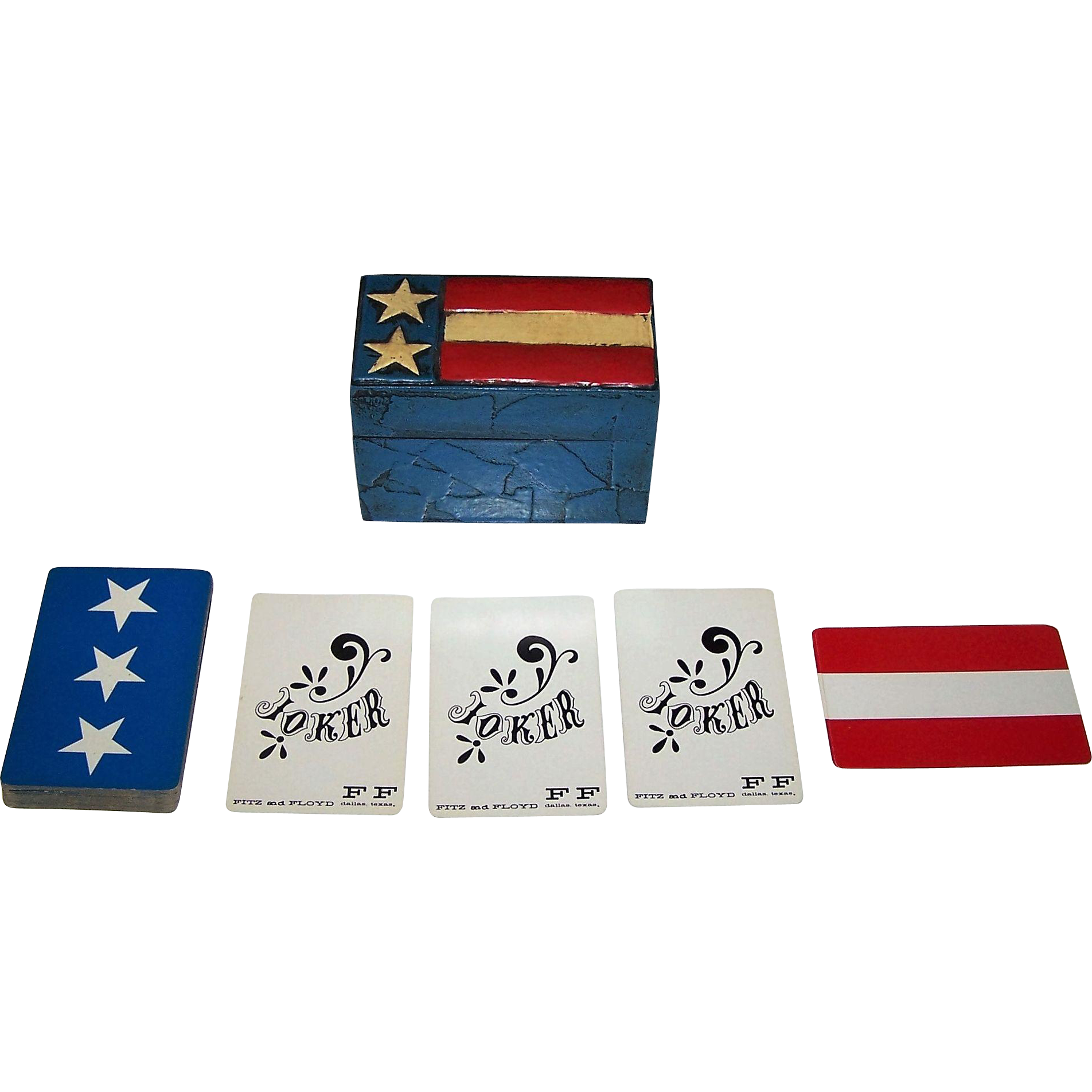 "Nintendo ""Fitz and Floyd"" Playing Cards (+ 2 Jokers) w/ Custom Painted Wood Box, Jasper Johns Flag, c. 1960s"