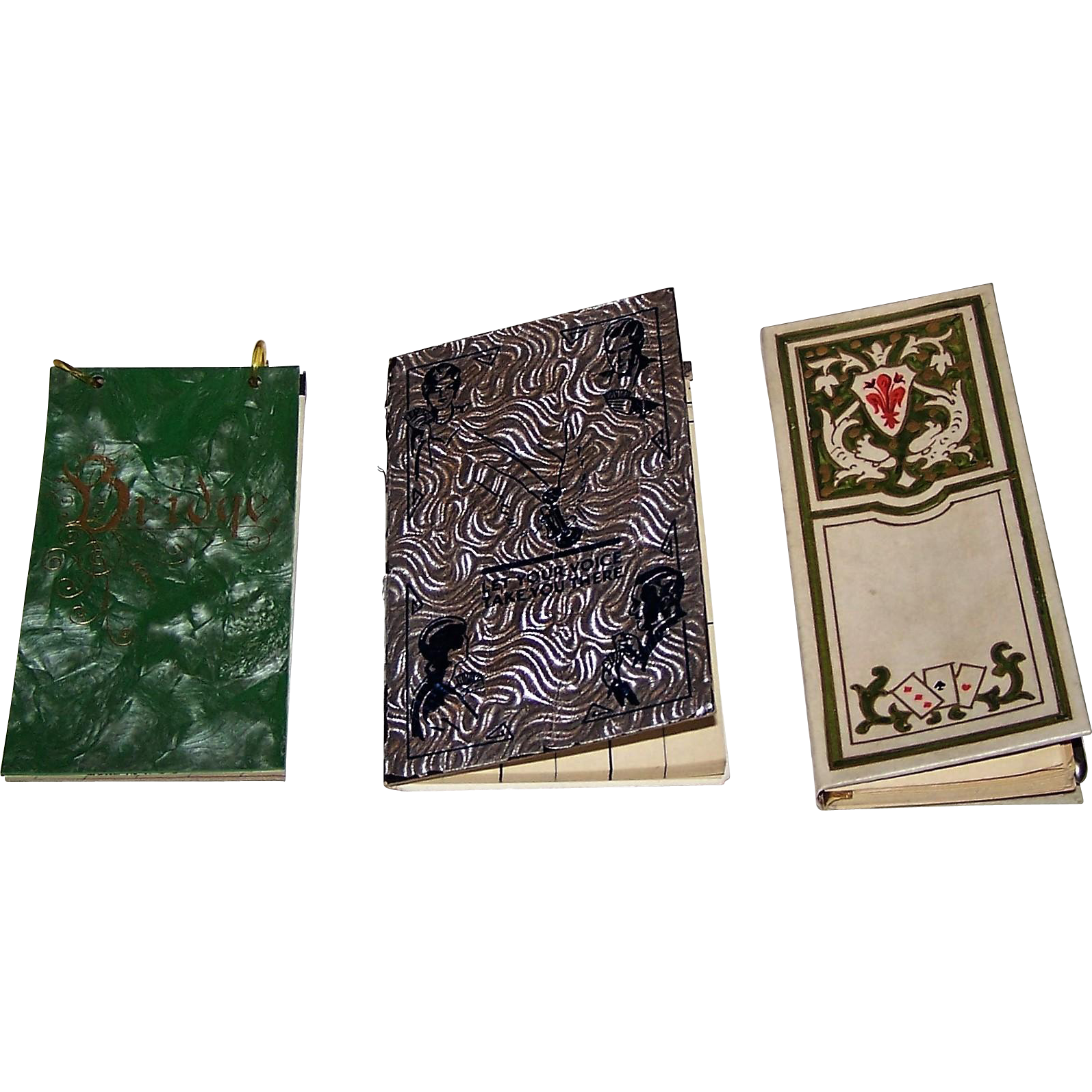 "3 Card Game Score Pads, $15/ea.: (i) Art Deco Auction Bridge Score Pad, Plastic Covers, c.1930; (ii) Chesapeake and Potomac Telephone Contract Bridge Score Pad, c. 1937; and (iii) Giuseppe Giovanni ""Win/Lose"" Score Pad, Schwan-Bleistift Fabrik Pencil"