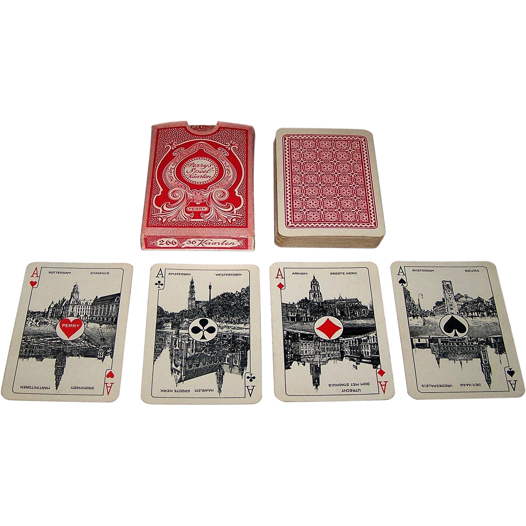 "Piatnik ""Perry's Speelkaarten"" Playing Cards, Dondorf Rhineland Pattern, 36-Card Deck, c.1920"
