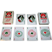 "Carta Mundi ""Keser"" Playing Cards, Anton Schupp Designs, New Suit (Clovers), Red and Green Suits, c.1971"