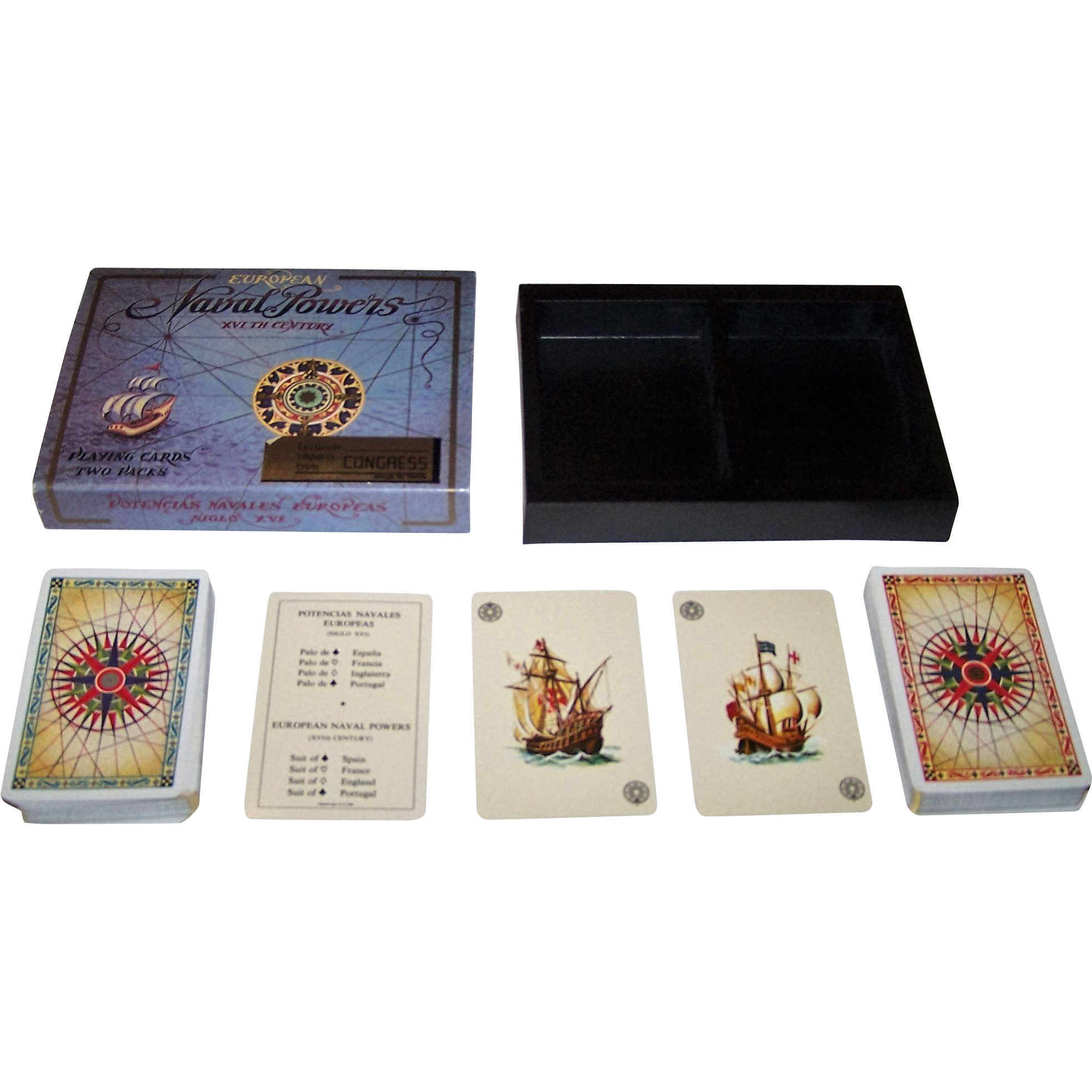 "Double Deck Fournier ""European Naval Powers"" Playing Cards, As. Coins Designs, c.1981"