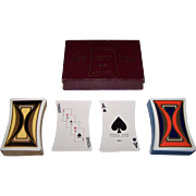"""Double Deck Standard Playing Card Co. """"New Era"""" Playing Cards, Concave Sides, Art Deco Backs, c.1929"""