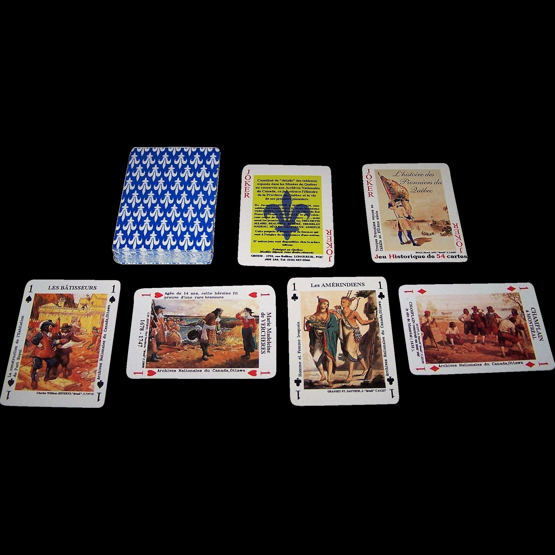 """Ortem """"L'Histoire des Pionniers du Quebec"""" Playing Cards"""