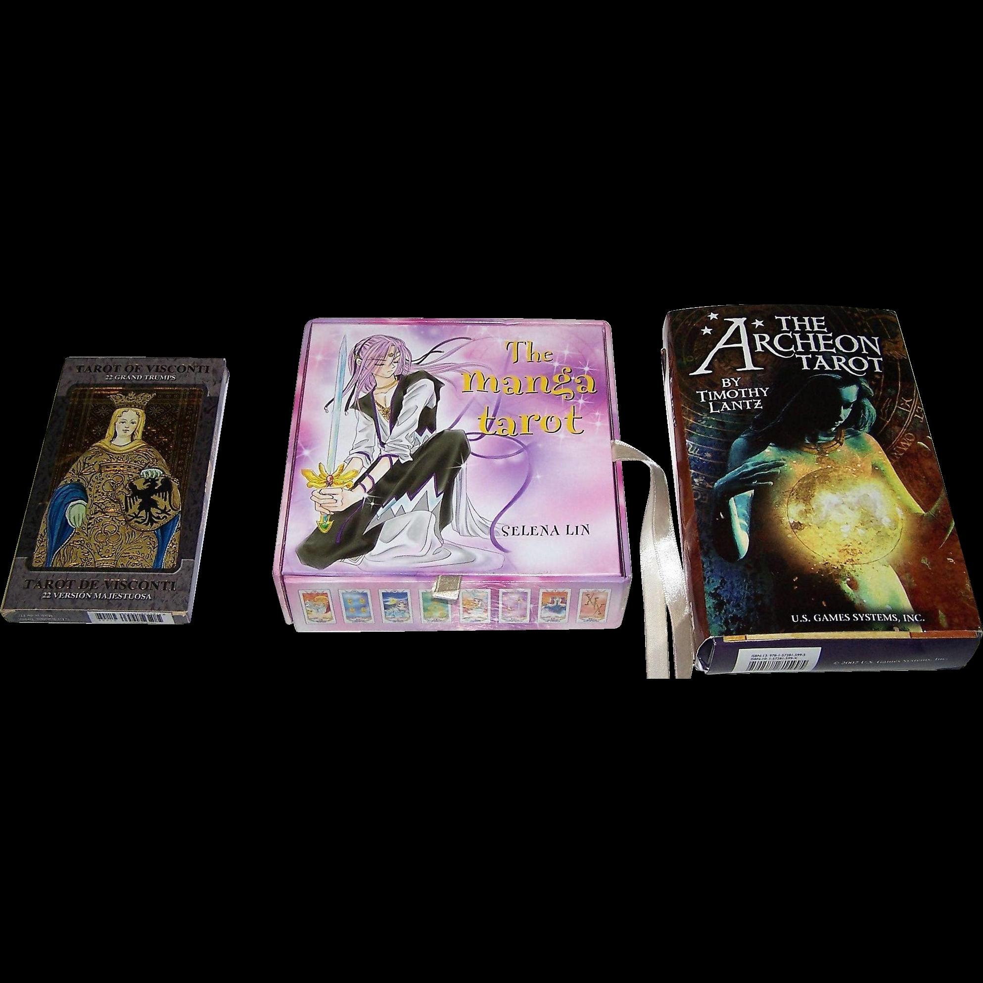"3 Sets of Tarot Cards, $15/ea.: (i) Lo Scarabeo ""Tarot of Visconti"" (Majors Only); (ii) St. Martin's Griffin ""The Manga Tarot""; (iii) U.S. Games Systems ""The Archeon Tarot"""