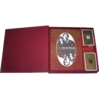 "Special Limited Edition Double Deck Grimaud ""Oscar Wilde"" Playing Cards, w/ Accompanying Book, Elegant Packaging, Presage International Publisher, Richard Ellman Conception, R. Fanto Artwork, 1986"