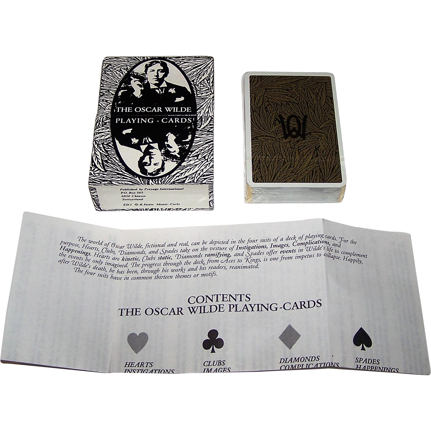 "Grimaud ""Oscar Wilde"" Playing Cards, Presage International Publisher, Richard Ellman Conception, R. Fanto Artwork, 1986"