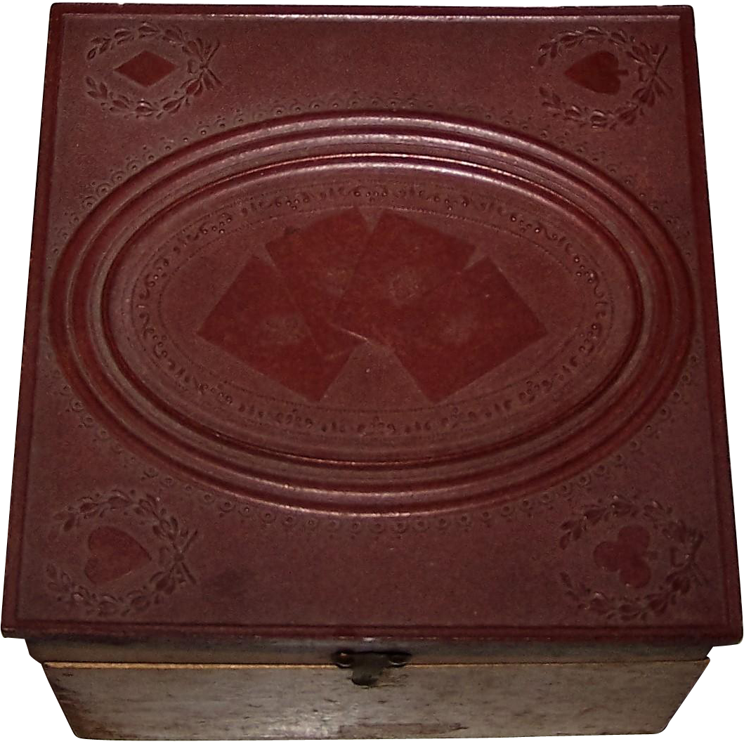 Standard Collar Co. Collar Box, w/ Playing Card Theme and Patent License Stamp, c.1880s