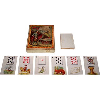 "J.H. Singer ""Cards of Fate"" Fortune Telling Cards, Lenormand Type, c.1885"