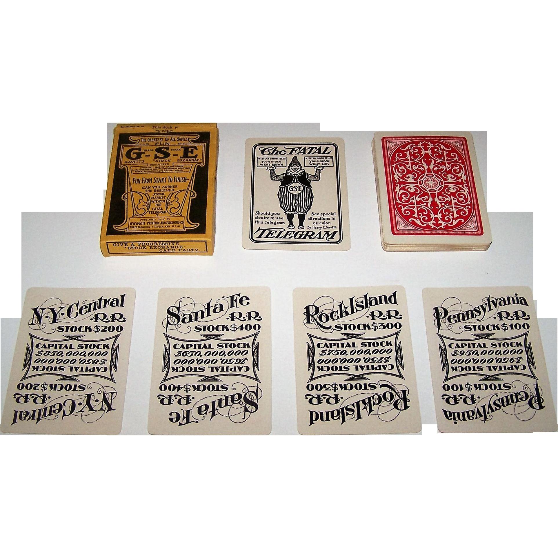 "W.W. Gavitt Printing and Publishing Co. ""Gavitt's Stock Exchange"" Card Game, c.1903"