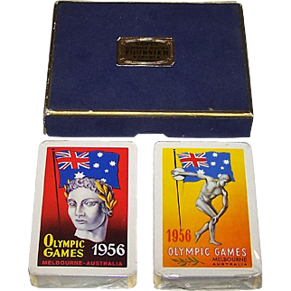 """Double Deck Fournier """"Melbourne Olympics"""" Playing Cards, c.1956"""