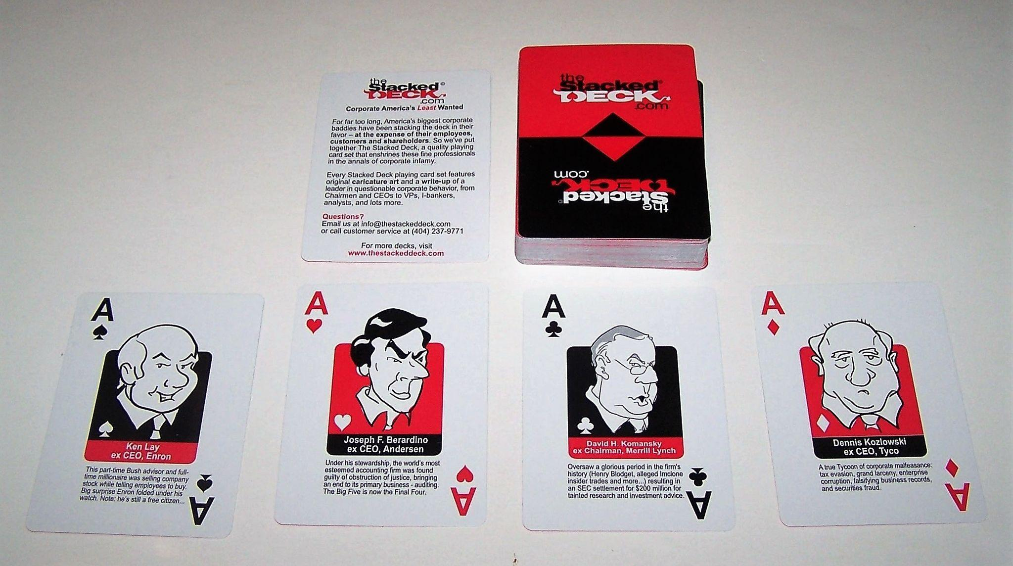"""the stacked deck"""" playing cards """"corporate america s least wanted"""