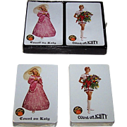"Double Deck USPC (Congress) Missouri-Kansas-Texas Railroad ""Count on Katy"" Railroad Playing Cards, ""Umbrella Girl"" and ""Flower Girl"" -- 100th Anniversary Commemoration, c.1965"