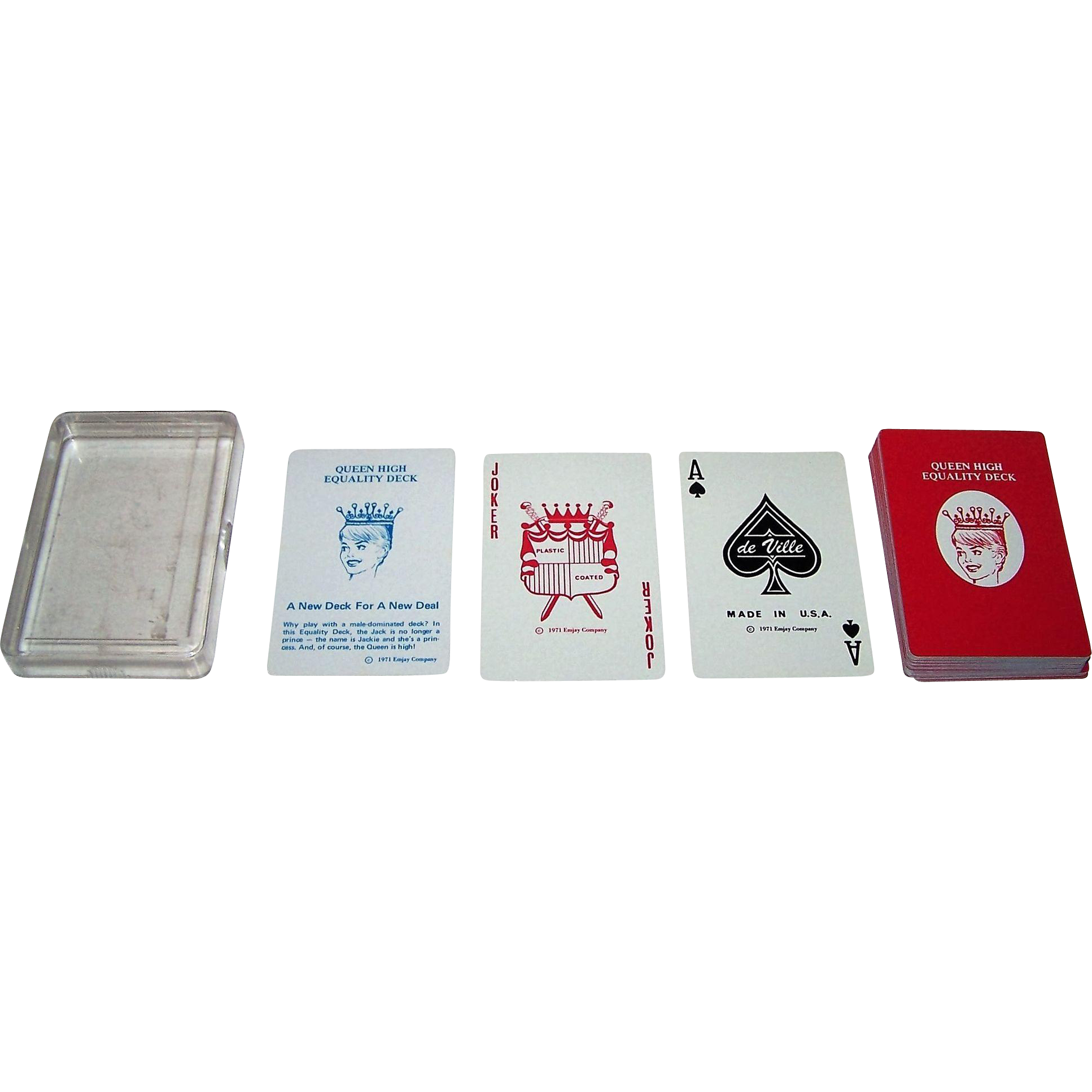 "USPC (de Ville Brand) ""Queen High Equality Deck"" Playing Cards, Emjay Company Publisher, c.1971"