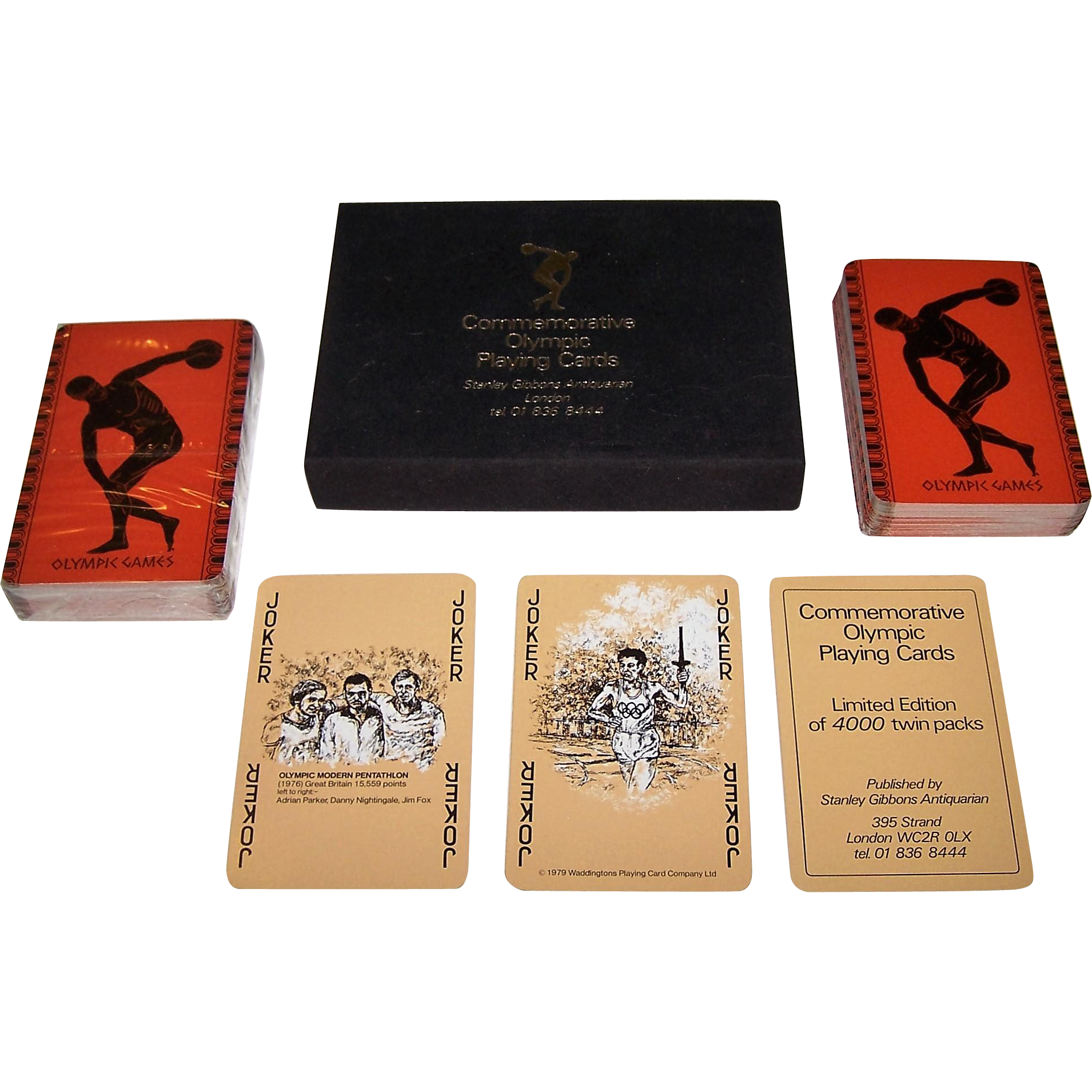 """Double Deck"" Waddington ""Commemorative Olympic Playing Cards,"" Medal Winners 1976 Olympics, Stanley Gibbons Antiquarian, Limited Edition (___/4000), c.1979"