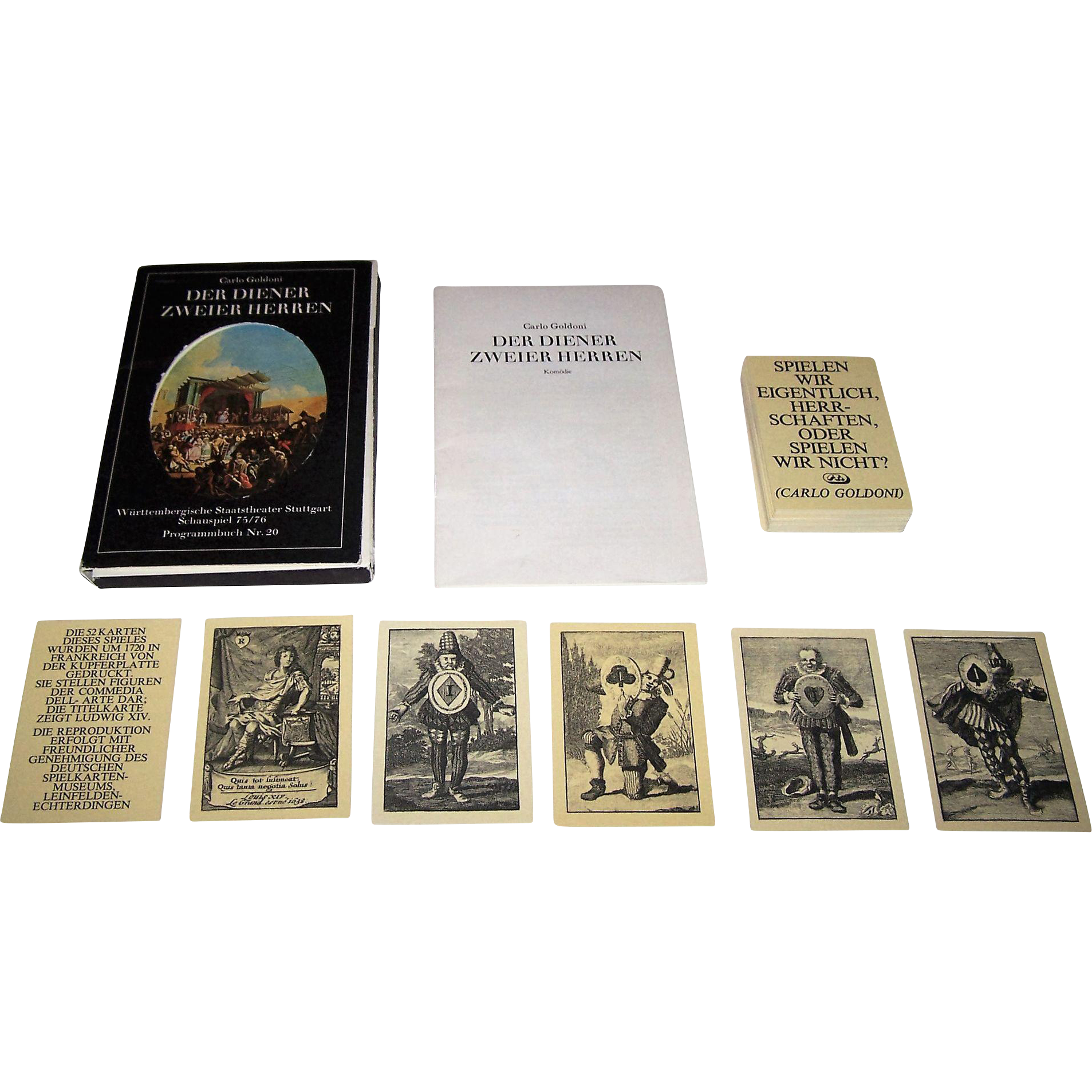 "Württembergische Staatstheater Stuttgart ""Der Diener Zweier Herren,"" (""Servant of Two Masters""), Carlos Goldoni Play, Commedia Dell'Arte Performers, Modern Edition of 18th Century Deck, 1976"