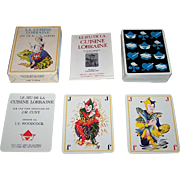 "Edition Arts et Lettres ""Le Jeu de la Cuisine Lorraine"" Playing Cards, Altered Suit Signs, Yvan Woodcock Designs, J.M. Cuny Conception, c.1978"