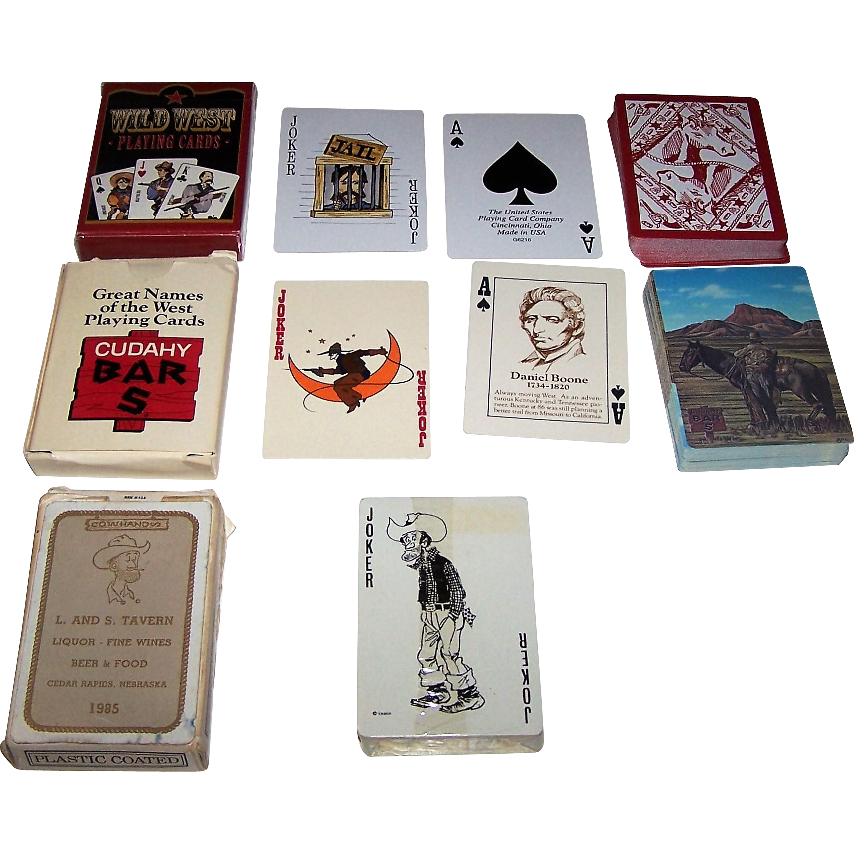 "3 Wild West Decks of Playing Cards, $15/ea.: (i) USPC/Fashionwest Accessories ""Wild West""; ""Cudahy Bar S"", Ed Mell Designs, c.1974; and (iii) ""Cowhands"", Tasco Designs, c.1985"