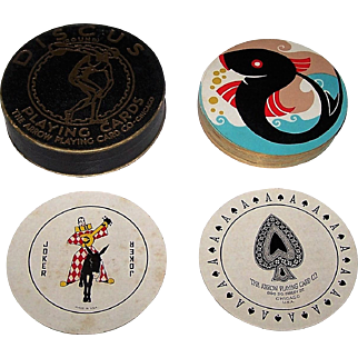 "Arrow ""Discus"" Round Playing Cards, Art Deco Backs, c.1930"