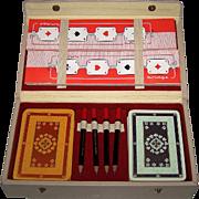 ASS Rococo Bridge Set w/ Score Pads and Scoring Pencils, c.1958