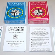 "Twin Decks Grimaud ""Les Grands Navigateurs"" Playing Cards, Jean Delpech Designs, c.1976, $25/ea."