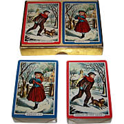 "Double Deck Western ""Currier & Ives"" Playing Cards, ""Throw If You Dare"" and ""Shall I,"" Travelers Insurance Company Publisher, c.1940-1965"